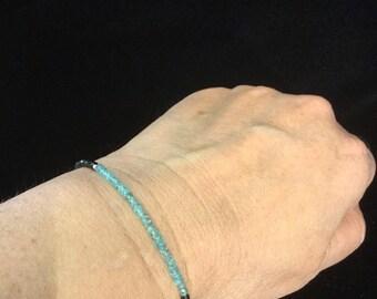 Aquamarine and black spinel bracelet