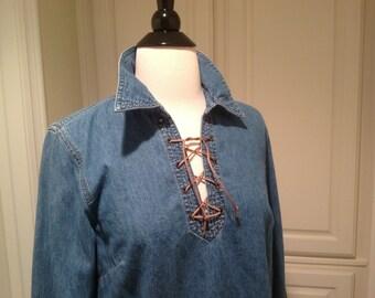Vintage denim shirt / Ann Taylor denim blouse / 70's boho style top / womans size 6 / pullover top