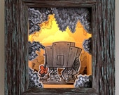 """Original, Signed, Hand Built Wooden Shadow Box / Night Light By James Hance - """"At-Ore"""" (Wookiee the Chew)"""