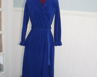 Gorgeous Van Raalte Royal Blue Velour Dressing Gown Bathrobe