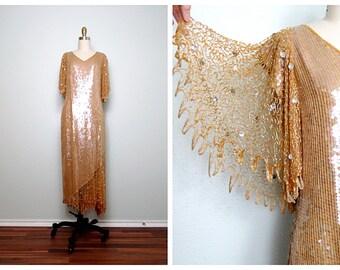 VTG Champagne Gold Sequined Gown • Iridescent Gold Embellished Dress • Golden Goddess Art Deco Dress