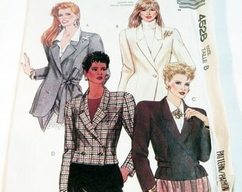 """1980s Tied Lined cropped Jacket notched collar wrap sewing pattern McCalls 4528 Size 8 Bust 31.5"""" UNCUT FF"""
