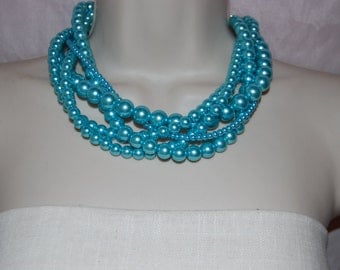 Aqua Glass Pearl Statement Necklace Multi-Strand Beaded Necklace Chunky Bold