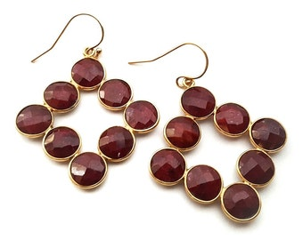 Garnet Earrings - 14k Gold Fille Garnet Gemstone Earrings - January Birthstone - Garnet Jewelry - Red Earrings - Gift for Her