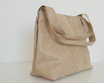 Leather Tote Bag - Beige Leather Vegan Bag - Casual Tote - Office Bag - Slouchy Tote - Women Bag