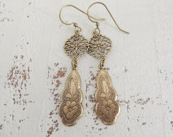 Filigree Earrings Antiqued Brass Etched Floral Pansy Dangles Vintage Inspired Earrings Bohemian Filigree Dangles Brass Drop Earrings