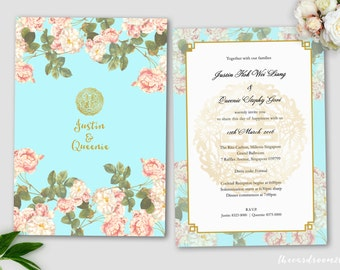 Printable Wedding Invitation Set | wedding Invitation + RSVP Card |Oriental Floral | turquoise | Gold Double Happiness