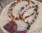 Beautiful frosted mookaite gemstone mala necklace