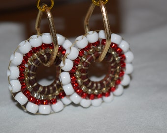 White and red beaded earrings