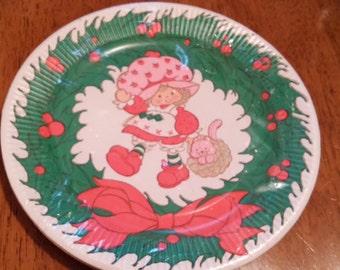 Vintage 1981 Strawberry Shortcake Christmas paper plates American Greetings NIP