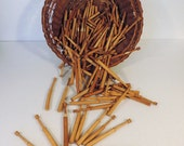 Vintage french wooden lace bobbins for making pillow lace, set of 10