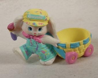 Vintage-1990-Hard Rubber-Crayola Bunny-Pulling A Cart-Binney and Sons-Hallmark