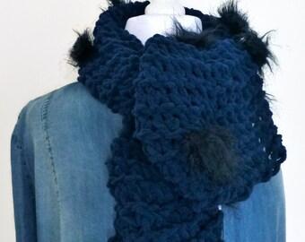 Blue faux fur scarf, decorative scarf, knit navy blue scarf, handmade scarf, neck warmer scarf, muffler scarf, hand knit scarf, fancy scarf