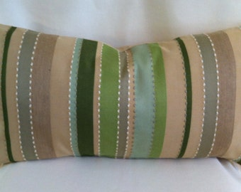 Single Lumbar Decorative Pillow Cover-Greens and Beige Striped Design-Accent Kidney Pillow Cover-Free Shipping.