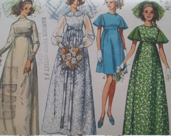 Vintage Simplicity 8144 Sewing Pattern  Size 10 Wedding Dress  or Bridesmaid  Dress  in Two Lengths  1960s Fashions