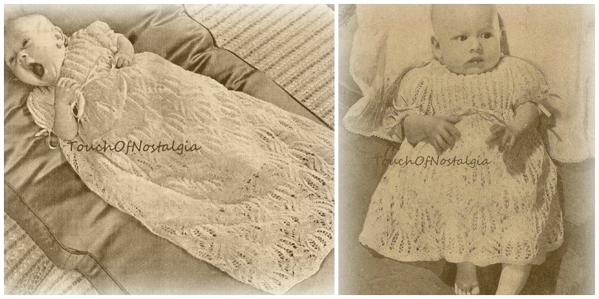 CHRISTENING GOWN/Dress Knitting Patterns Exquisite Delicate