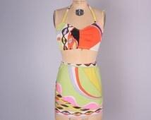 Vintage Emilio PUCCI Slip Set // 1960's Mod Negligee // Psychedelic Pucci Fabric RARE SET (size small)