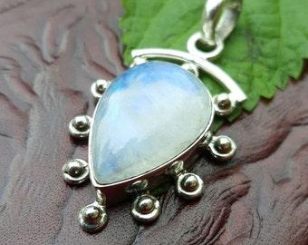 Radiant Teardrop Moonstone Sun Pendant Quality Gemstone and Sterling Silver
