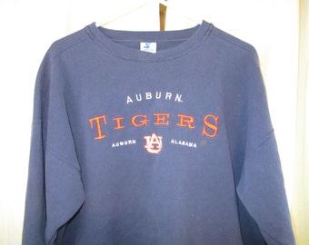 Vintage 80s Auburn Tigers Navy Blue Embroidered Sweatshirt War Eagle XL