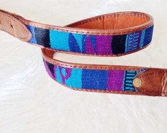 Vintage blues + purples Southwestern Woven Brown Leather Belt