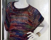 SWEATER WOMAN KNITTED  Pullover Handmade Hand knit Cropped Oversized Boho  Grunge  Boxy Jewel Tones