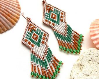 Seed bead earrings, long beaded earrings, beaded jewelry, peyote earrings
