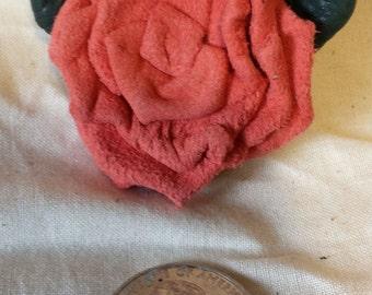 Salmon Suede Lambskin Leather Rose Pin