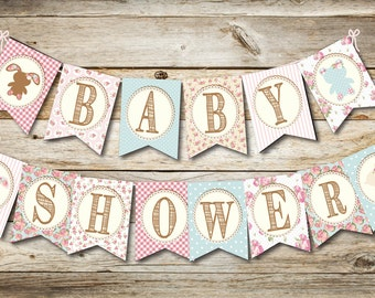 Baby Shower Banner- Downloadable- Country Chic Banner- Baby Banner