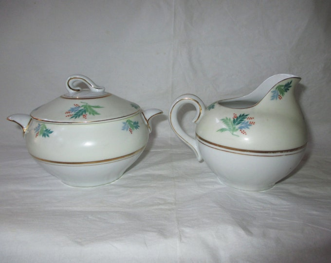 MIOJ Ucagco Occupied Japan Sugar Bowl & Creamer, Blue Green Leaves with Red Berries, 1945-52