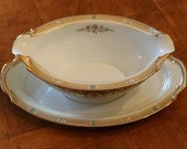 """Noritake China """"Tybalt"""" Pattern Double-Spouted Gravy Boat With Attached Underplate"""