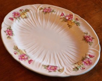 "Shelley English Bone China ""Begonia"" Pink and Yellow Floral Pattern Oval Serving Platter"