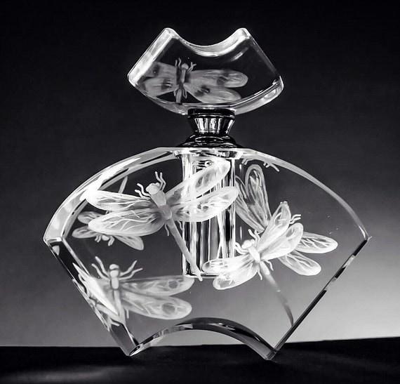 Crystal Perfume Bottle, Dragonflies, handEngraved, flowers, vanity ...