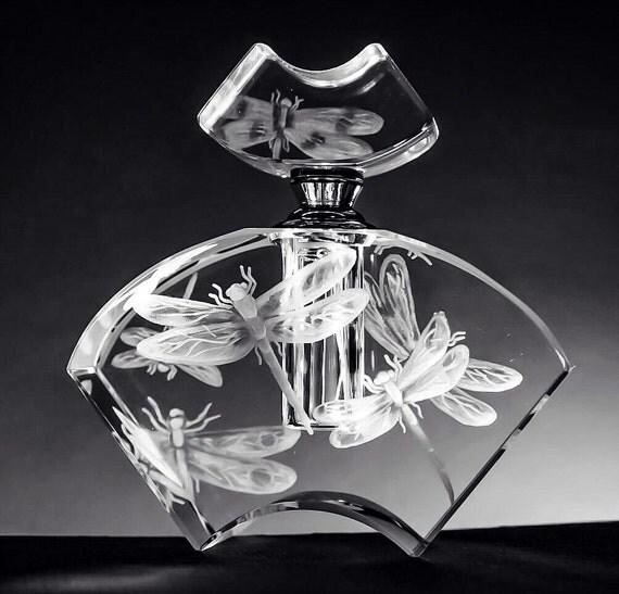Hand Engraved Perfume Bottle Dragonflies, Oleg Cassini Crystal, Mini Perfume Bottle, Perfume Bottle, vanity Tray, Perfume Tray, Crystal etch