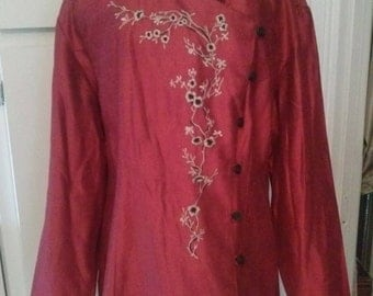 Jacket Vintage Asian Embroidered Red Size 14 Women Clothing Accessories