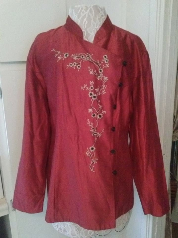 Jacket Vintage Asian Embroidered Red Size 14 Women Clothing