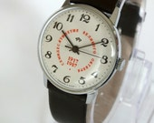 Watch RAKETA Anniversary 70th Years  October Revolution. Rare Vintage Men's  Wristwatch, Collectible Timepiece. Slim Mens Dress Watch