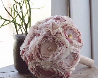 Blush fabric bouquet, fabric flower bouquet, brooch fabric bouquet