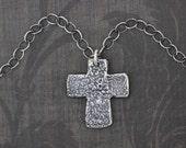 ON SALE Cross Pendant, Cross Necklace, Sterling Silver Cross, Rustic, Artisan, Patina, Cross Charm, Botanical, Embossed