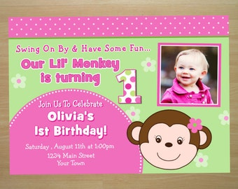 Monkey Girl Birthday Invitation - Digital File (Printing Services Available)