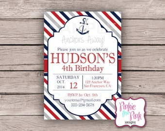 Personalized Nautical Boy Birthday Party Invitation- Anchors Away Nautical Digital File Download