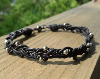 Black Leather and Silver beaded Bracelet with Magnetic clasp