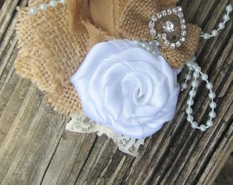 Fabric flower Corsage,Burlap flower corsage