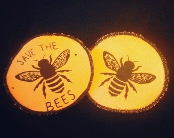 black + yellow screen printed bee patch, with or without text