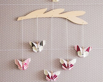 Developmental ornament, colorful mobile, origami butterflies mobile, geometric stripes pattern, origami gift, new baby gift, pink nursery