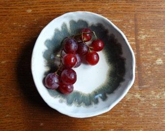 ceramic bowl white blue, serving platter ornament bowl, decorative platter, one of kind, crochet texture, hand formed ceramic from poland