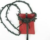 Red & Black Leather Rose Hip Bag