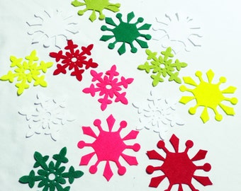 18 Pcs Mixed SNOWFLAKES Die Cuts - Winter Snowflakes- Cut Outs- Felt Pieces- Snowflakes-Winter Decorations-Holidays