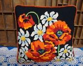 Needlepoint Orange Poppies Pillow