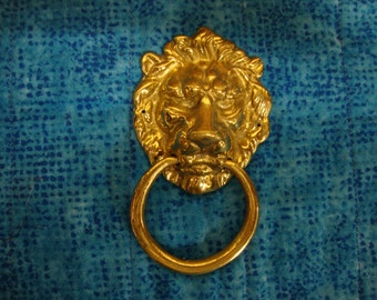 Brass Lion's Head Door Knocker Style Furniture Pull