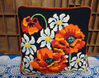 Needlepoint Orange Poppies Pillow